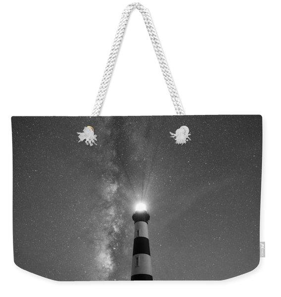 Bodie Island Light Milky Way Portrait Bw Weekender Tote Bag