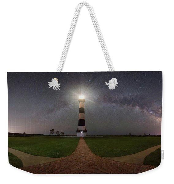 Bodie Island Lighthouse Milky Way Pano Weekender Tote Bag