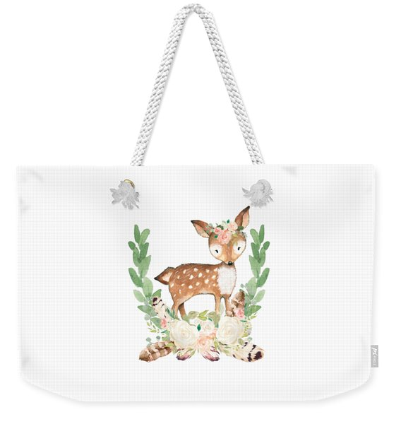 Boho Woodland Blush Dear With Feathers Weekender Tote Bag