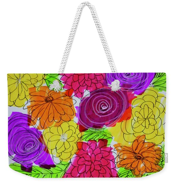Weekender Tote Bag featuring the painting Bold Flowers by Kim Nelson