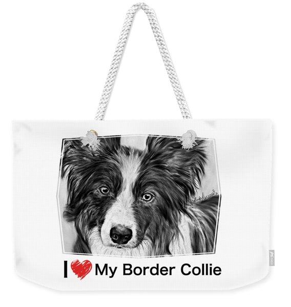 Border Collie Stare Weekender Tote Bag