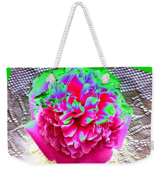 Bordered Peony Abstract Weekender Tote Bag