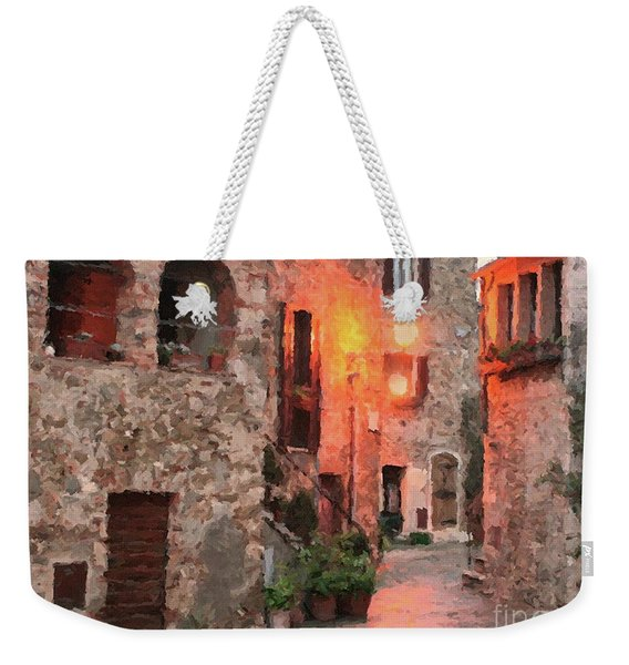 Weekender Tote Bag featuring the painting Borgo Medievale by Rosario Piazza