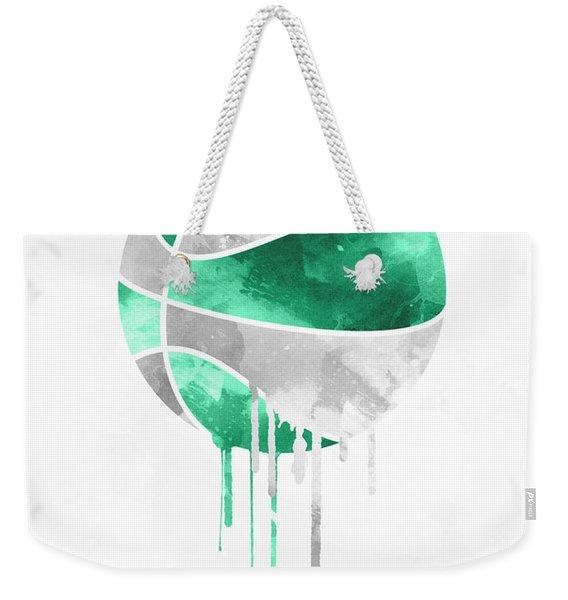 Boston Celtics Dripping Water Colors Pixel Art Weekender Tote Bag