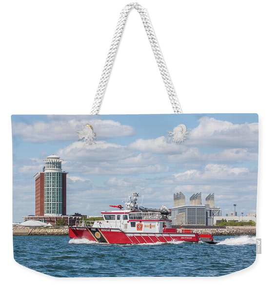 Boston Fire Rescue Boat Passing Logan Airport Weekender Tote Bag
