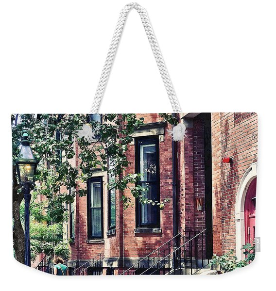 Boston Ma - Walking The Dog On Mount Vernon Street Weekender Tote Bag