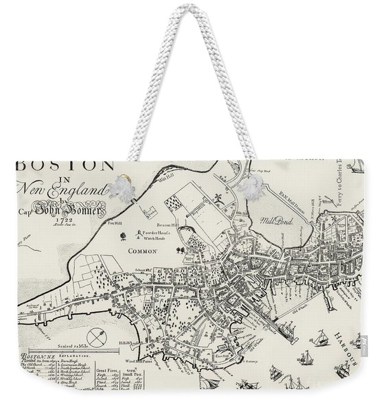 Boston Map, 1722 Weekender Tote Bag