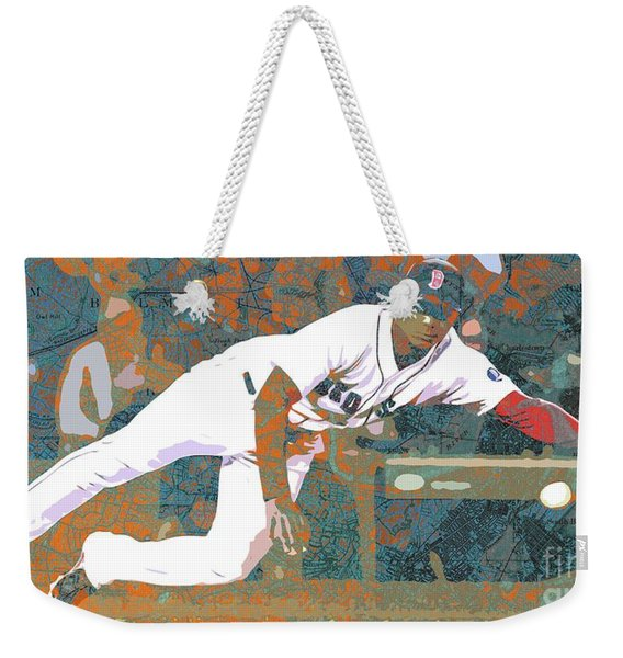 Boston Red Sox Player On Boston Harbor Map Weekender Tote Bag