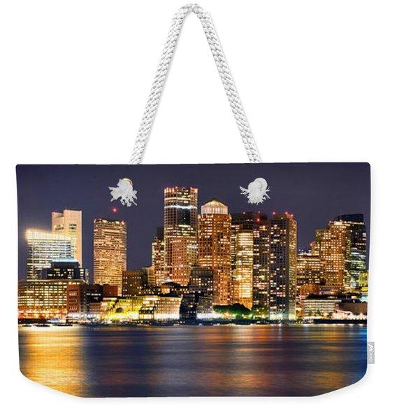 Boston Skyline At Night Panorama Weekender Tote Bag