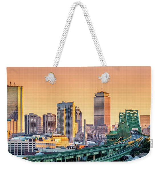 Weekender Tote Bag featuring the photograph Boston Skyline by Mihai Andritoiu