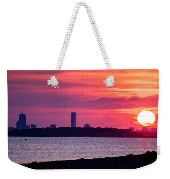 Boston Skyline Worlds End Weekender Tote Bag