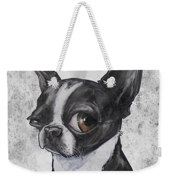 Boston Terrier - Grey Antique Weekender Tote Bag