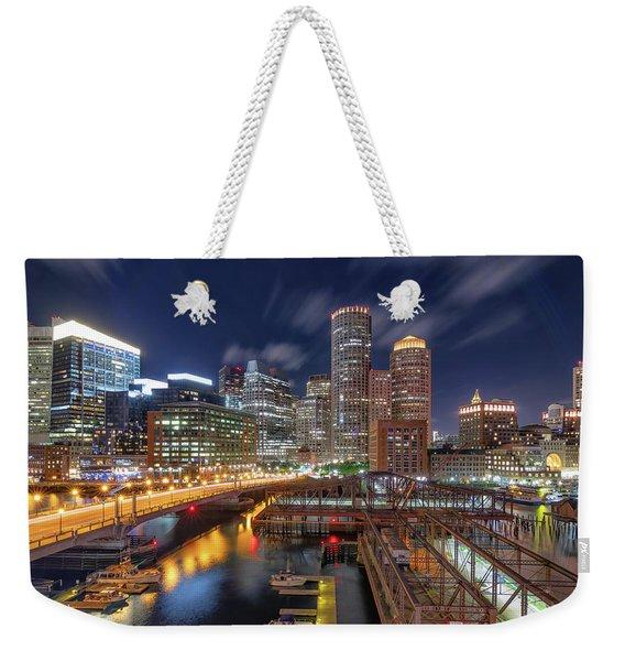 Boston's Skyline At Night Weekender Tote Bag