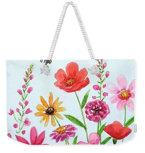 Botanical Flowers And Bees Weekender Tote Bag