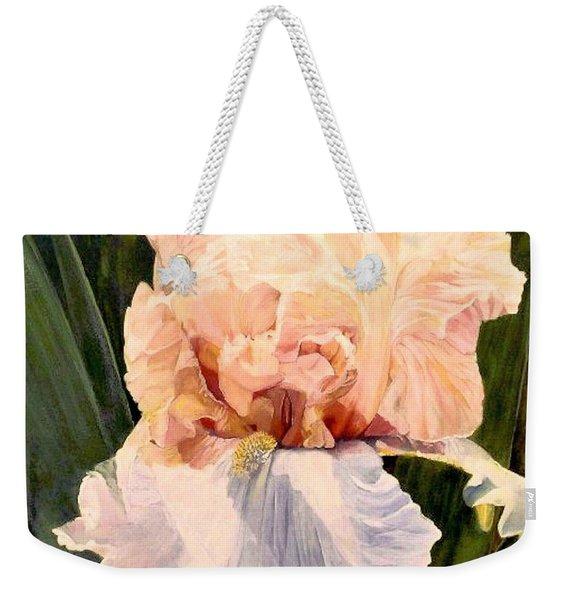 Botanical Peach Iris Weekender Tote Bag