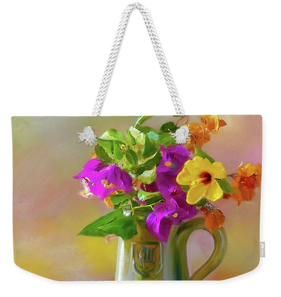Bougainvilleas In A Green Jar. Weekender Tote Bag