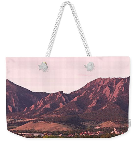 Boulder Colorado Flatirons 1st Light Panorama Weekender Tote Bag