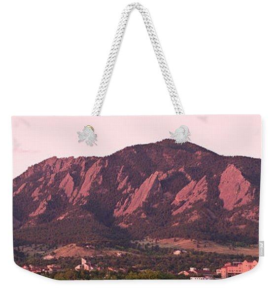 Boulder Colorado Flatirons 1st Light Panorama Weekender Tote Bag