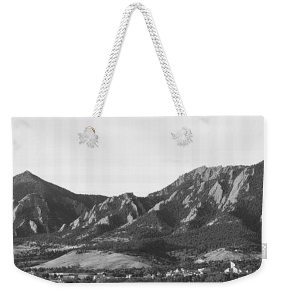 Boulder Colorado Flatirons And Cu Campus Panorama Bw Weekender Tote Bag