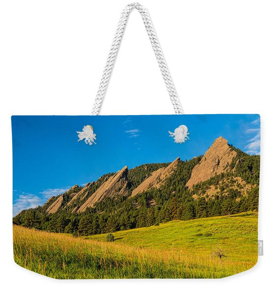 Boulder Colorado Flatirons Sunrise Golden Light Weekender Tote Bag