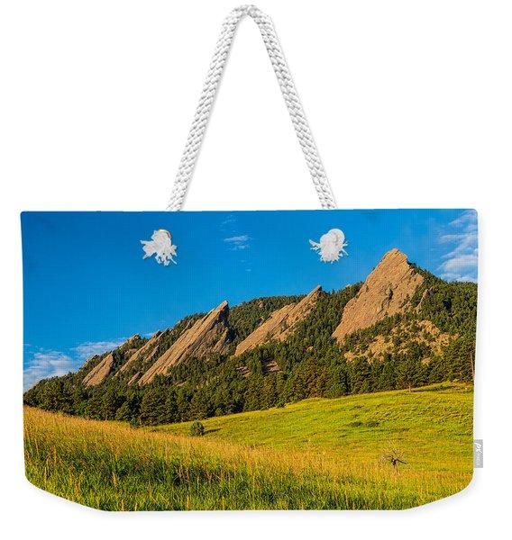 Boulder Colorado Flatirons Sunrise Golden Light Weekender Tote Bag
