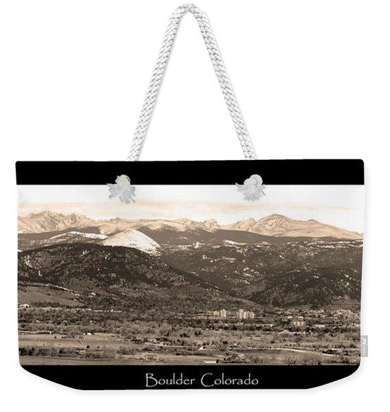 Boulder Colorado Sepia Panorama Poster Print Weekender Tote Bag