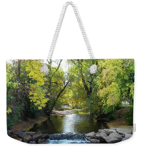 Boulder Creek Tumbling Through Early Fall Foliage Weekender Tote Bag