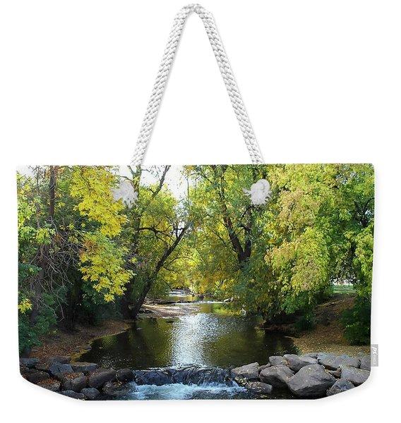 Boulder Creek Tumbling Through Early Fall Foliage Weekender Tote Bag