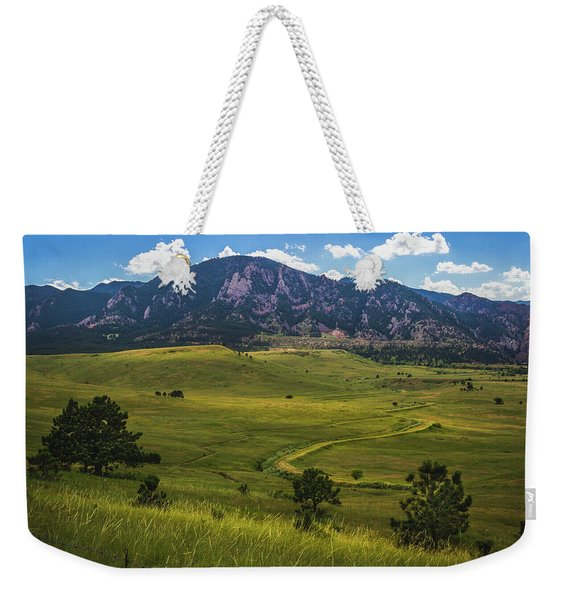 Weekender Tote Bag featuring the photograph Boulder Flatirons by Andy Konieczny