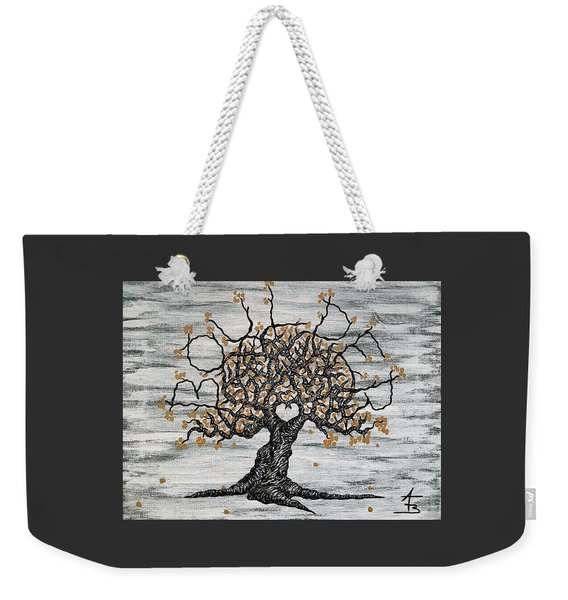 Weekender Tote Bag featuring the drawing Boulder Love Tree by Aaron Bombalicki