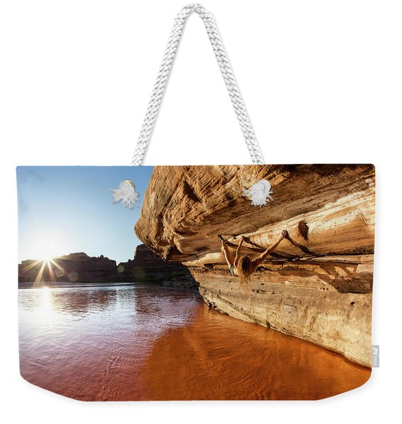 Bouldering Above River Weekender Tote Bag