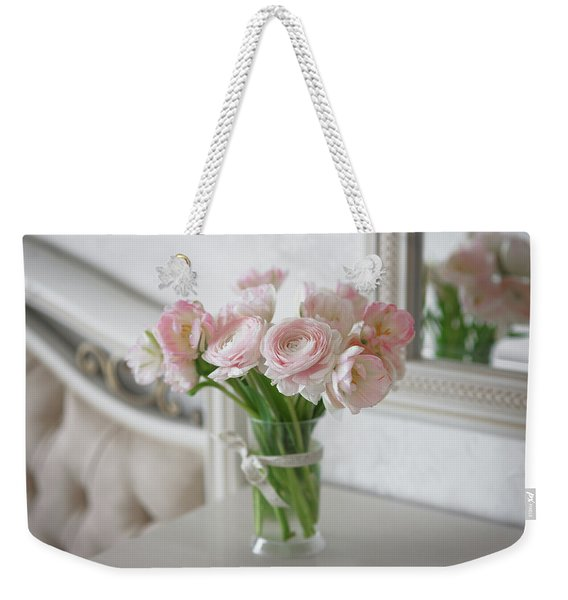 Bouquet Of Delicate Ranunculus And Tulips In Interior Weekender Tote Bag