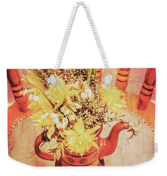 Bouquet Of Dried Flowers In Red Pot Weekender Tote Bag