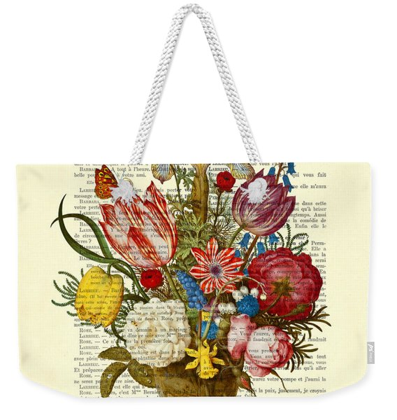 Bouquet Of Flowers On Dictionary Paper Weekender Tote Bag