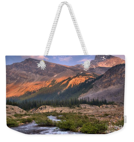 Bow Glacier Creek Sunset Weekender Tote Bag