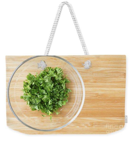 Bowl Of Chopped Parsley Weekender Tote Bag