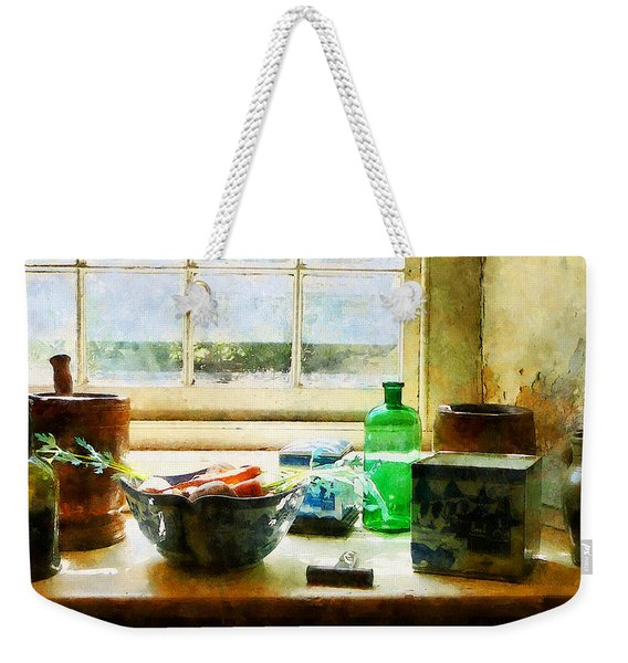 Bowl Of Vegetables And Green Bottle Weekender Tote Bag