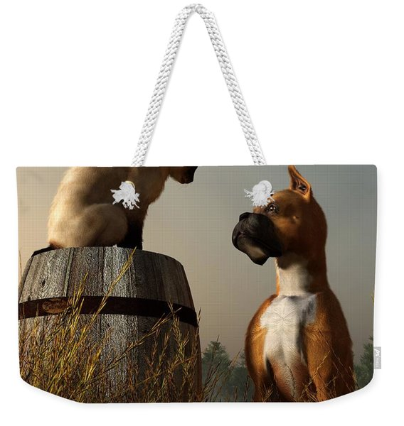 Boxer And Siamese Weekender Tote Bag