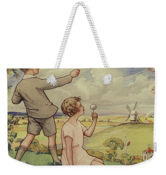 Boy And Girl Flying A Kite Weekender Tote Bag