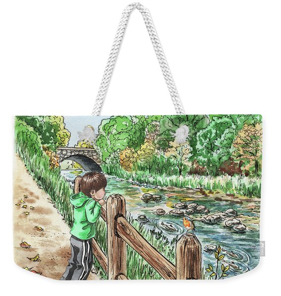 Boy At The Creek Weekender Tote Bag