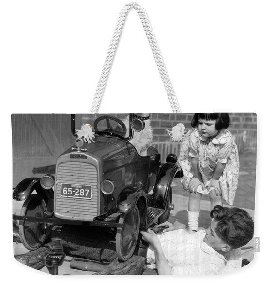 Boy Fixing Girls Toy Car, C.1920s Weekender Tote Bag