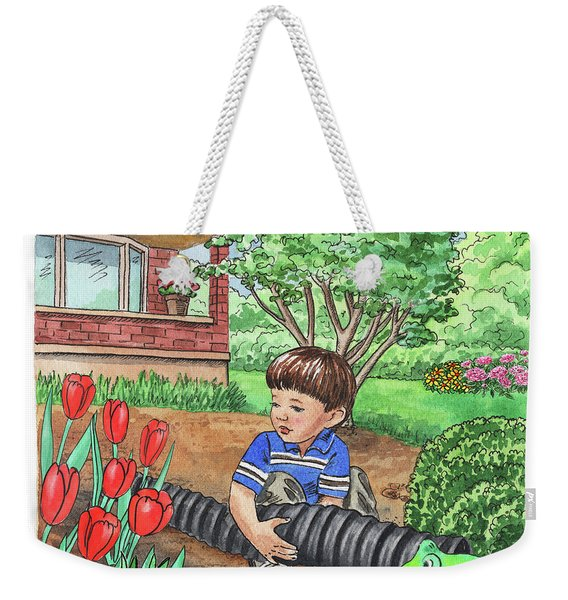 Boy In The Garden Helping Parents Weekender Tote Bag