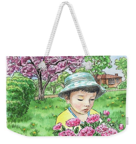 Boy In The Spring Garden Weekender Tote Bag