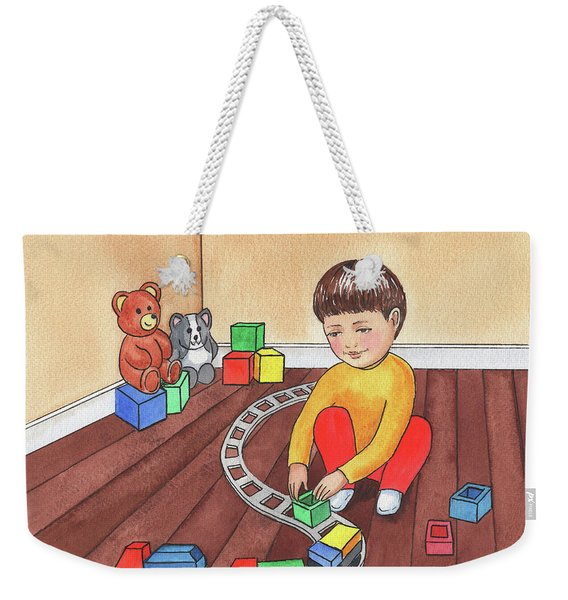 Boy Is Playing With Train Weekender Tote Bag