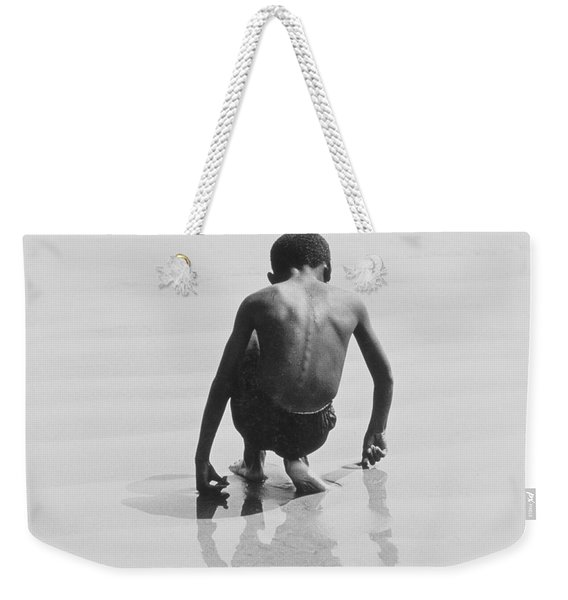 Boy Playing In The Sand At Coney Island Weekender Tote Bag