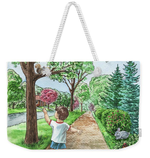 Boy Squirrel Bunny And Butterfly Weekender Tote Bag