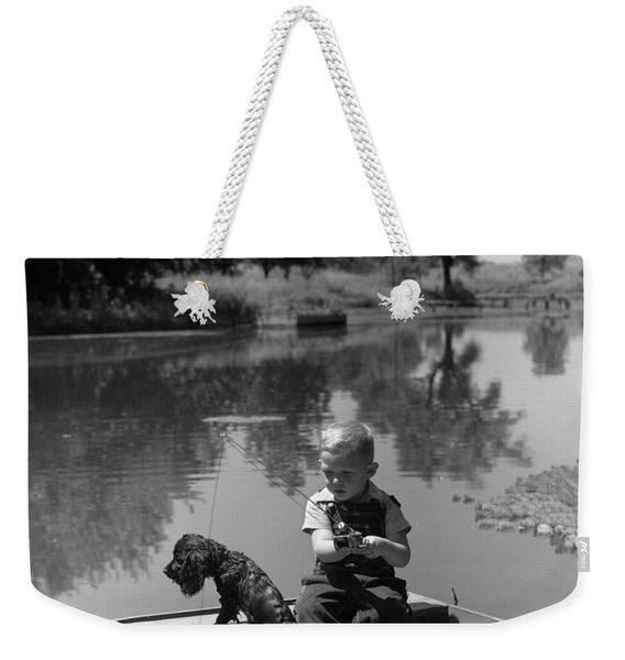 Boy With Dog In Fishing Boat Weekender Tote Bag