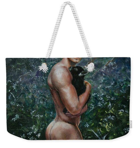 Boy With Goat Weekender Tote Bag