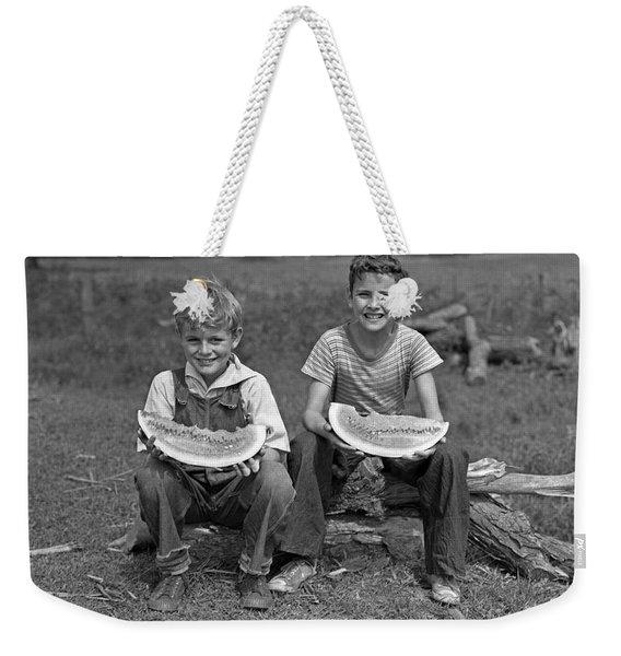 Boys Eating Watermelons, C.1940s Weekender Tote Bag