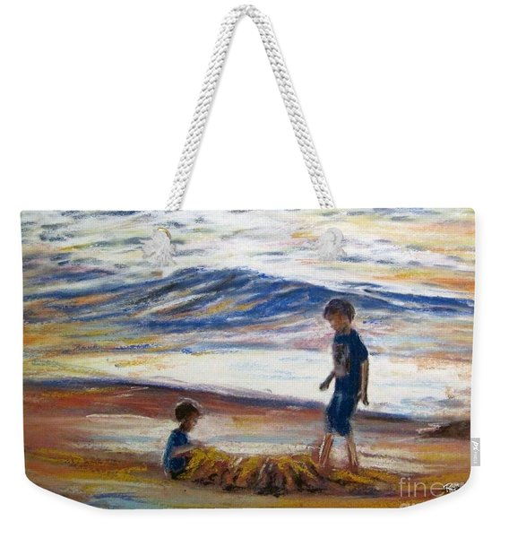 Boys Playing At The Beach Weekender Tote Bag